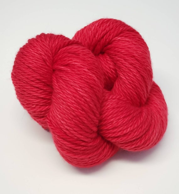 Hand Dyed Yarn/Superwash merino/Bulky /Rhubarb- Dyed to Order