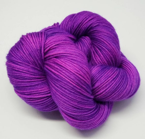 Hand Dyed Yarn/Superwash merino/DK /Grape Gobstopper- Dyed to Order