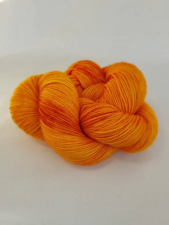 Hand Dyed Yarn/Superwash merino/nylon/Sock Yarn/Pumpkin Guts - DYED TO ORDER