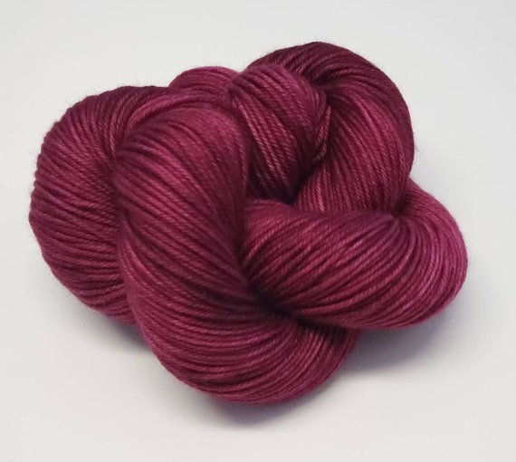 Hand Dyed Yarn/Superwash merino/DK /Cranberry- Dyed to Order