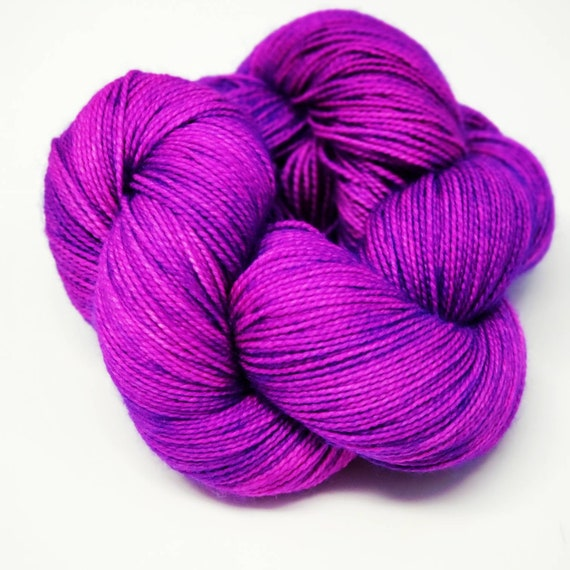 Hand Dyed Yarn/Superwash merino/nylon/Sock Yarn/Grape Gobstopper- DYED TO ORDER