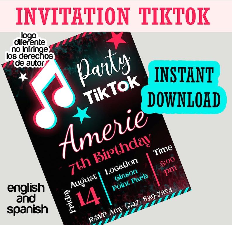 Tik Tok Party Invitations