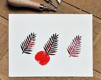 Handmade linocut print - Palmae