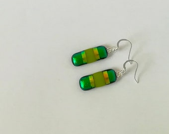 Green Stripped Fused Glass earrings on Silver