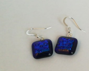 Royal blue square Dichroic Earrings on Sterling Silver earwires