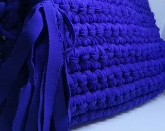 Crochet blue handbag with a zipper