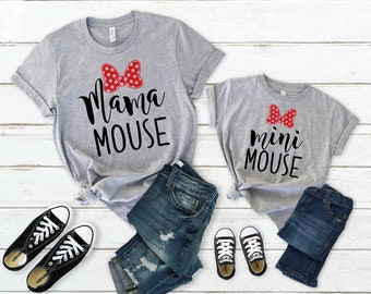 Pregnancy reveal Mouse Heads His and Her matching white T-shirts set