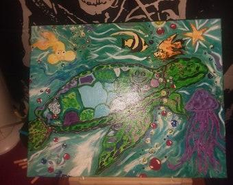 Sea Turtle Painting, origional painting of sea turtle in ocean with sea creatures, Original canvas painting of sea turtle on 16×20 canvas