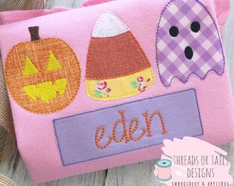 Halloween applique halloween trio applique design etsy