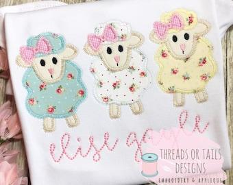82b0ce32ff3e Easter Applique - Easter Design - Lamb Design - Zig Zag Stitch Applique -  Easter Lamb Trio Applique - Easter Lamb Applique - Lamb Trio