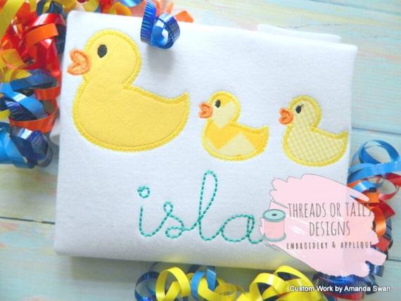 Duck applique duck trio applique design ducks in a row etsy
