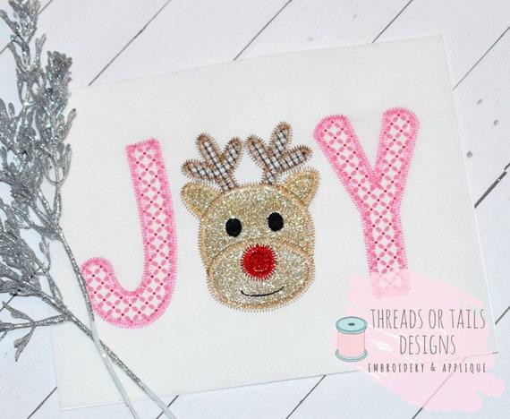 Joy applique zig zag applique joy design joy word etsy