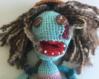 Girl zombie - McKenzie - stuffed crocheted monster - rag doll