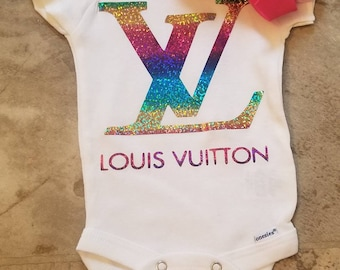 e27656f26919 Designer Inspired white onesie ... 0-3mos & 3-9 mos available! Please  specify which size you want!