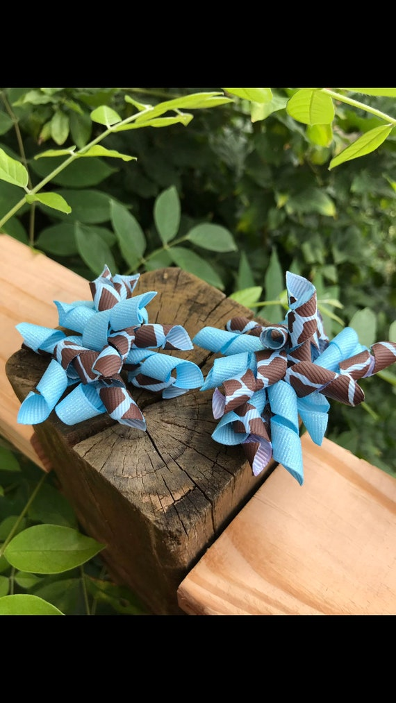 Hair Bow Hair Accessory Hair Ribbon ***I will combine shipping Dazzle Ribbon PiG TAIL BOWS Korker Hair Accessory Set of Two