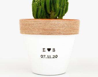 Engagement Gifts for Newly Engaged Couples Custom Plant Pot Initials and Date Personalized Planter for Indoor