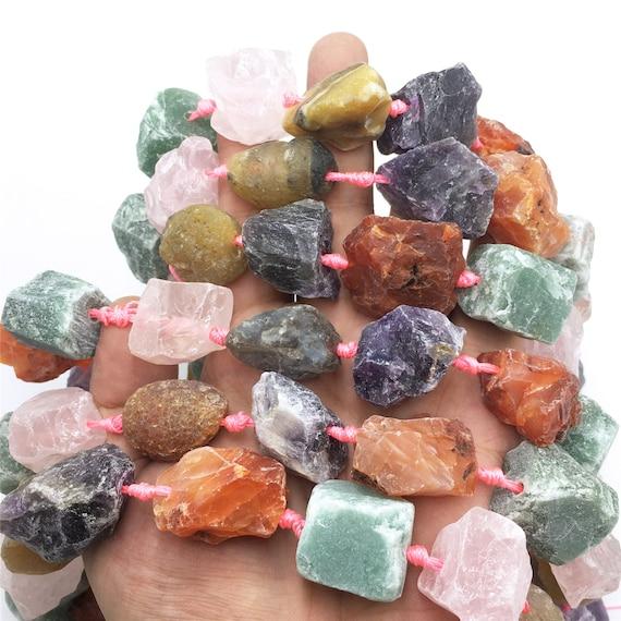 Natural crystal quartz Gem nugget Raw graduated beads strand 2mm hole drilled