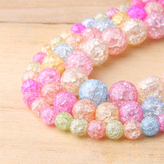 6-12MM Round Multicolor Snow Cracked Bead DIY Loose Quartz Crystal Spacer Beads