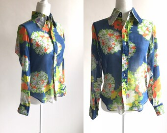 a5af2db66f2f1e RARE Vintage Philippe Venet Sheer Floral Collared Blouse | 1960s Sheer  Button Up Top | Vintage Lightweight Summer Blouse | Lady Parkley