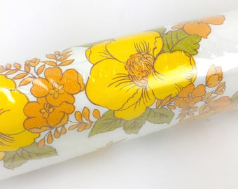 Vintage Wallpaper Roll | 12 Yards | Vintage 70s Wallpaper Roll | 70s Flower Power Wallpaper Roll | Deadstock Wallpaper | Vinyl Wallpaper