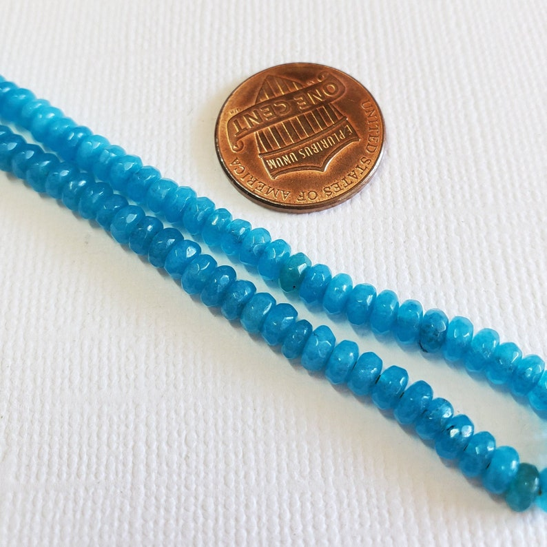Turquoise Agate Gemstone Beads 7 Half Strand 2x4mm Agate Faceted Rondelle Beads BD664