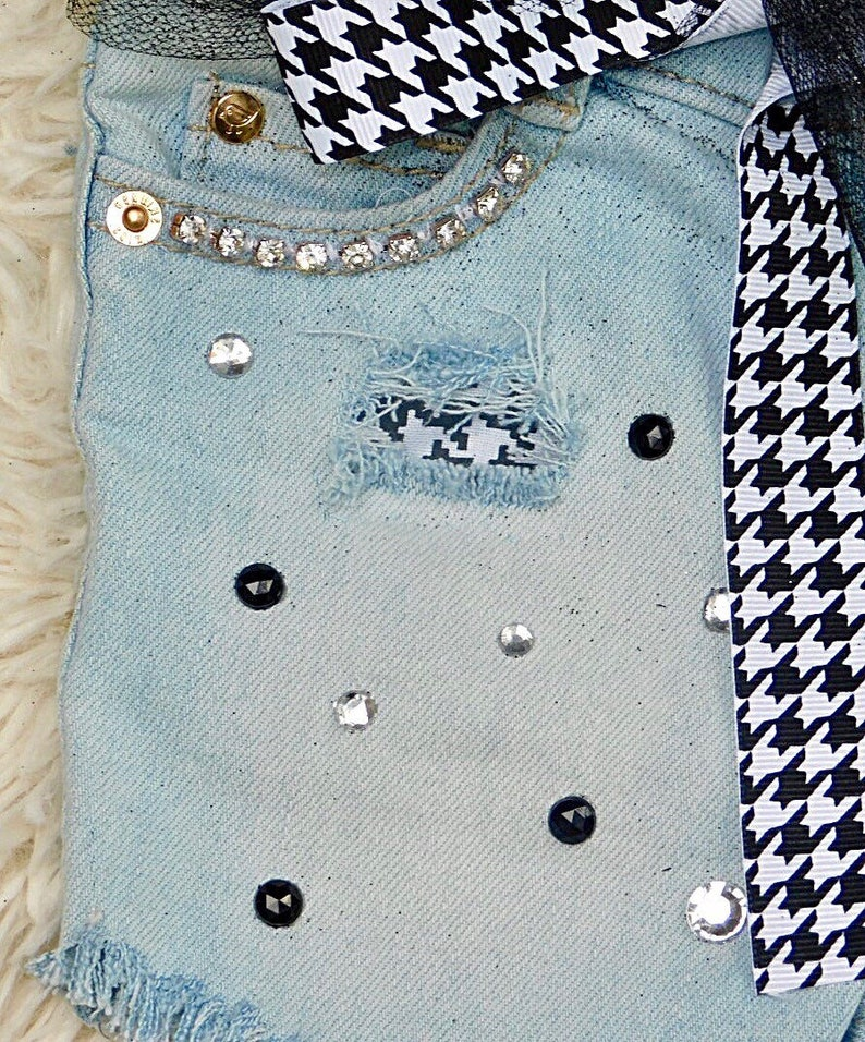 Houndstooth jeans Girls cut off jeans shorts for toddlers distressed denim with patches kids embellished denim shorts baby girl jean shorts