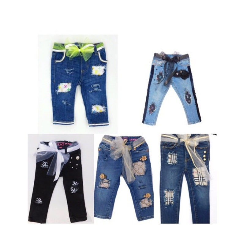 1d805eecac13 Designer inspired Baby jeans girls gucci clothes toddler denim