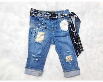 Girls Boho Embellished and distressed jeans for Baby and Kids