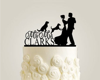 Wedding Cake Topper with two Dogs - Custom Wedding Cake Topper - Rustic Cake Topper with Last Name, Custom Dogs Available in Gold and Silver