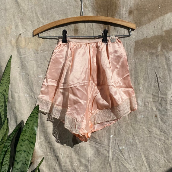1940s blue satin tap shorts with lace