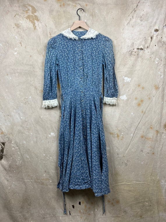 Vintage 1970s Gunne Sax Calico Antique Style Dress