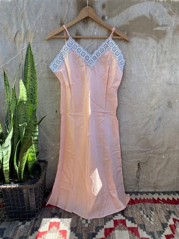 1940s Rayon Pink Slip Dress - image 1