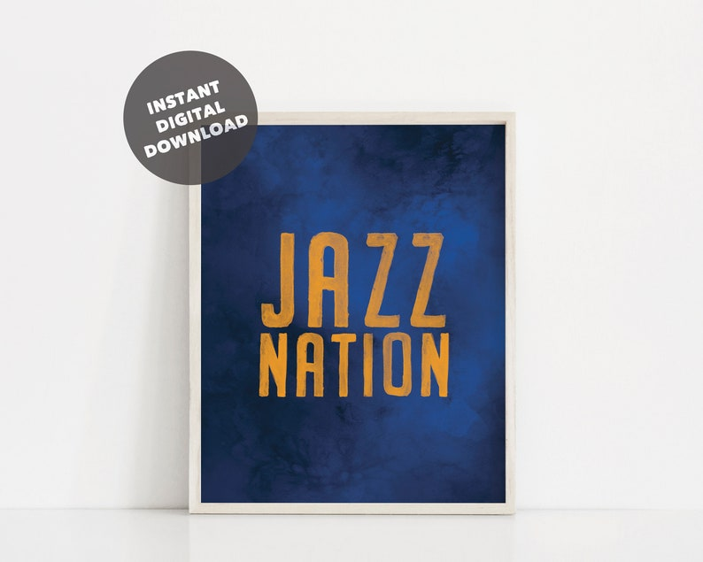 picture regarding Utah Jazz Schedule Printable titled Watercolor Utah Jazz Printable Poster, Jazz Country Print, Jazz Enthusiast, Jazz Wall Artwork, Jazz Decor, Basketball Printable