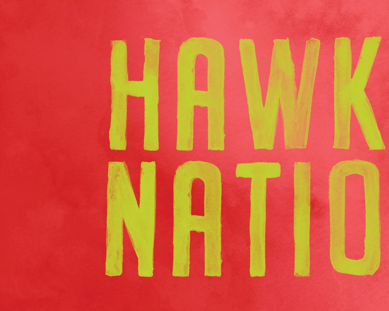 picture regarding Atlanta Hawks Printable Schedule named Watercolor Atlanta Hawks Printable Poster, Hawks Place Print, Hawks Lover, Hawks Wall Artwork, Hawks Decor, Basketball Printable