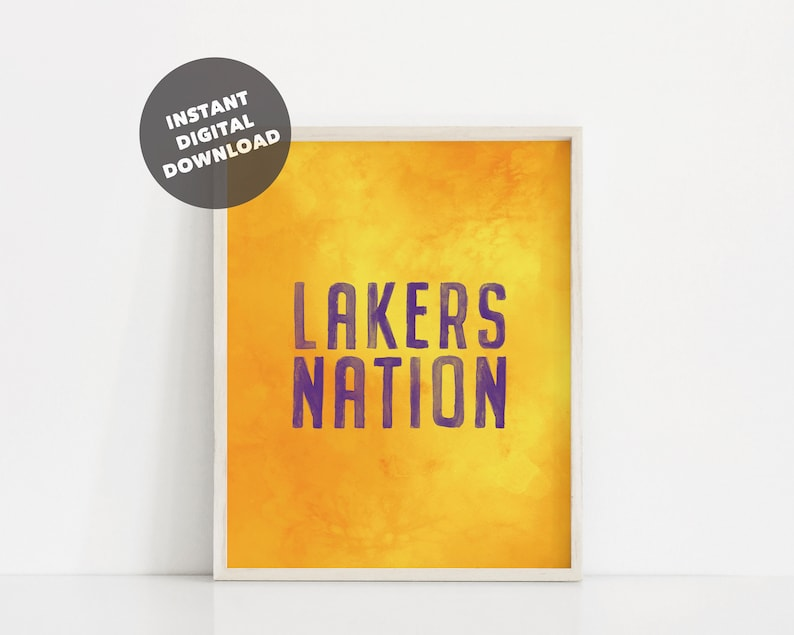 graphic about Lakers Printable Schedule identified as Watercolor Los Angeles Lakers Printable Poster, Lakers Region Print, Lakers Lover, Lakers Wall Artwork, Lakers Decor, Basketball Printable