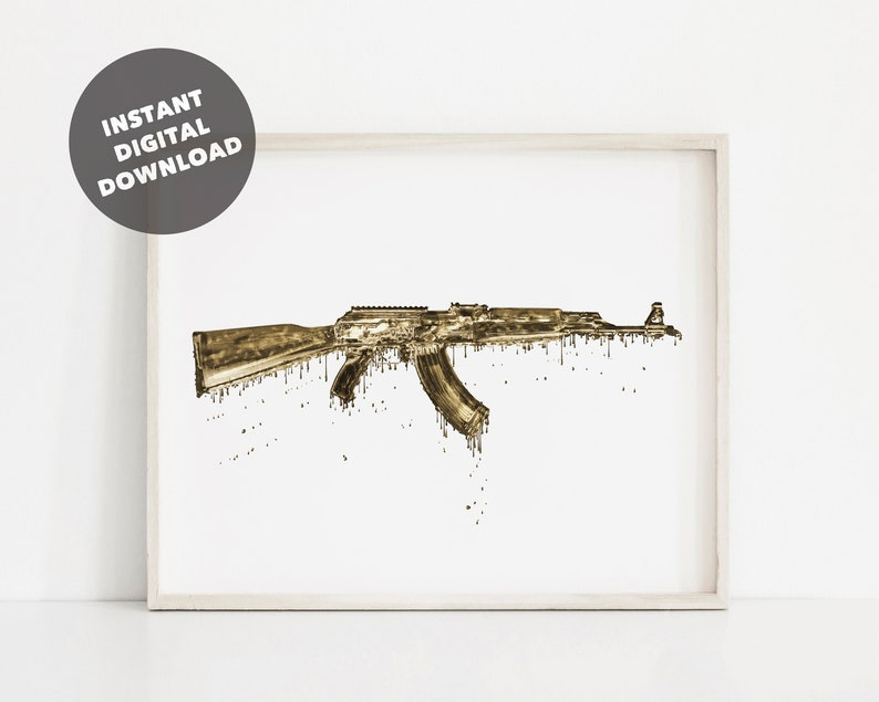 Melting Gold AK-47 Print, AK 47 Printable Poster, Gun Shop Decor, 2nd  Amendment Wall Art, Gold Poster, Gun Wall Decor