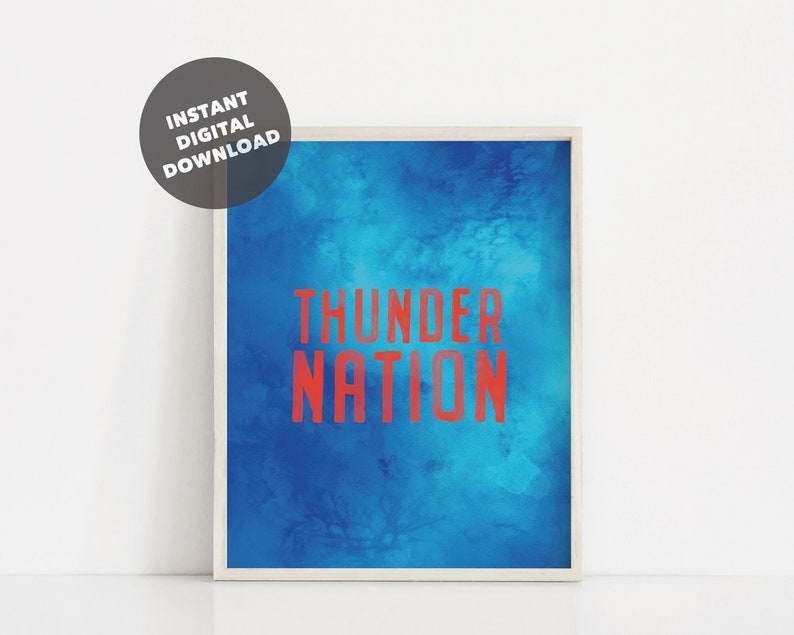 photo relating to Okc Thunder Printable Schedule named Watercolor Oklahoma Town Thunder Printable Poster, Thunder Country Print, Thunder Lover, Thunder Wall Artwork, Thunder Decor, Basketball Printable