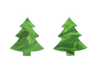 christmas tree lrg stud earrings inspired by forest pine xmas trees green marble textured acrylic