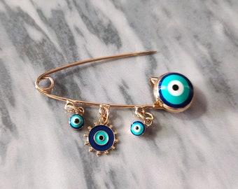 Evil Eye Mirror Pin Brooch Circle Round Glass Small Mirror Amulet Bronze Minimalist Unisex Long Pin Brooch Men Girls Women Jewelry Gift 7115