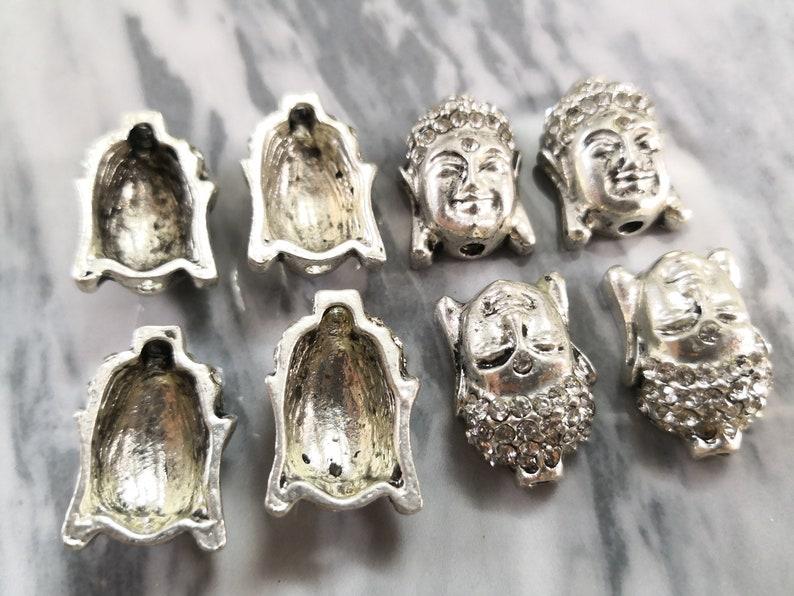 Antiqued Silver Buddha Head Spacer Beads 10pcs Buddha Head Beads Buddha Head Spacer Beads for Jewelry Making Rhinestone Buddha Beads