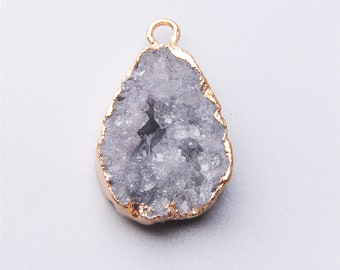 Natural geode drusy crystal stone Druzy Wire Wrap Gem stone Pendant,Rough Stone charms Jewelry Necklace Making 12*16 mm stone L244