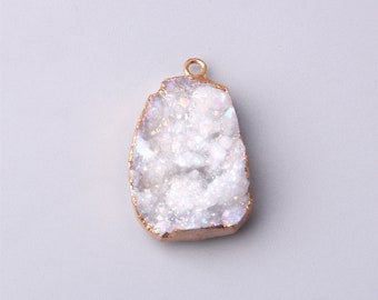 Top Quality White Onyx Druzy Cabochons For Jewelry Making,45X35mm,88.50cts,...R1702