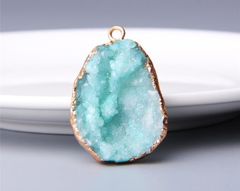 Druzy  FREE SHIPPING White Huge Agate Edge Triangle Stunning 44x38mm Drusy Quartz NATURAL Untreated Natural Gemstone Free Shipping A193