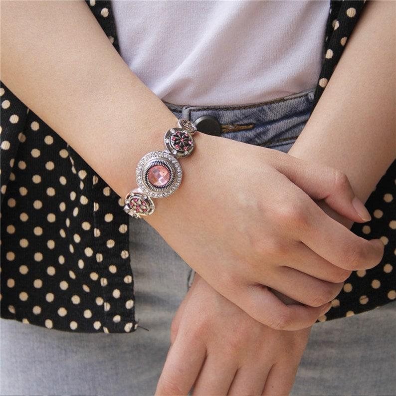 Silver Chain Bracelets Metal Snap Bracelet Bangle Fit Snap Buttons Bangle DIY Snap Jewelry For Women Fashion Chain Bracelets Bangle