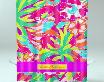 Lilly Pulitzer Lulu Cute New Hot Custom Strippes SHOWER CURTAIN Print On POLYESTER
