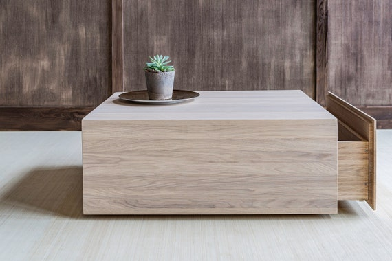 Square Coffee Table With Storage Center Coffee Table From Etsy