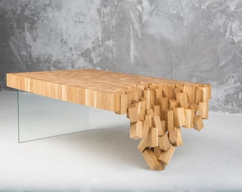 Wood Coffee Table - Unique Coffee Table from Solid Oak - Modern Oak Coffee Table with Glass