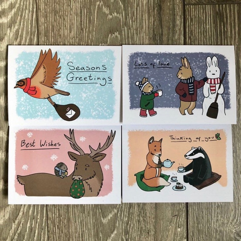 British Wildlife Christmas Cards singles or pack of 4 image 0