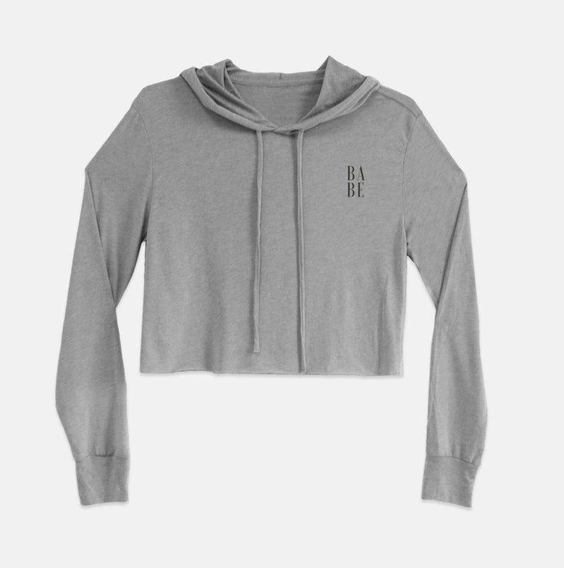 Babe Graphic Cropped Hoodie Corner Small Graphic