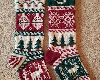 Personalized Custom Christmas Stockings Hand Knit Wool